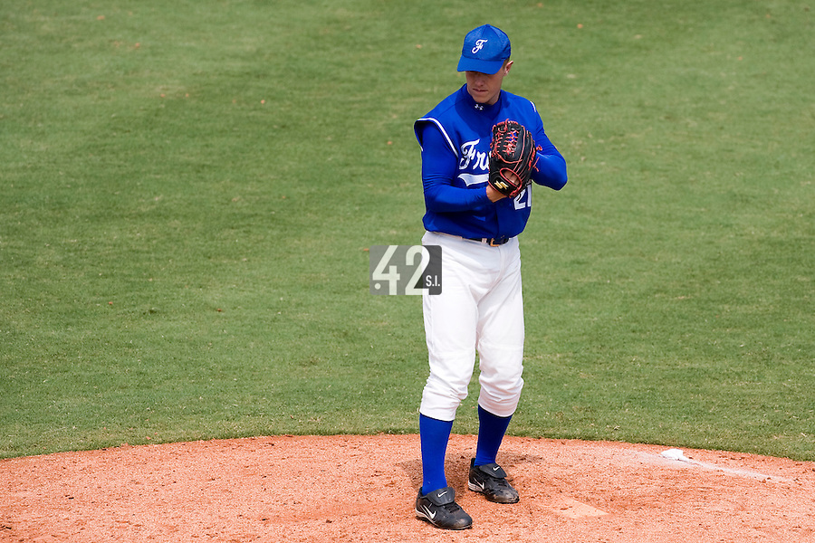 22 August 2007: #21 Gregory Cros pitches against Japan during the Japan 9-4 victory over France in the Good Luck Beijing International baseball tournament (olympic test event) at west Beijng's Wukesong Baseball Field in Beijing, China.