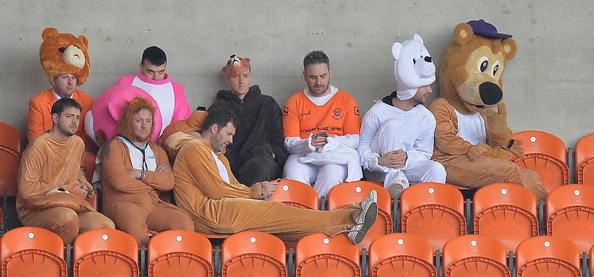 Blackpool fans during the game<br /> <br /> Photographer Dave Howarth/CameraSport<br /> <br /> Football - The Football League Sky Bet League One - Blackpool v Southend United - Saturday 2nd April 2016 - Bloomfield Road    <br /> <br /> &copy; CameraSport - 43 Linden Ave. Countesthorpe. Leicester. England. LE8 5PG - Tel: +44 (0) 116 277 4147 - admin@camerasport.com - www.camerasport.com