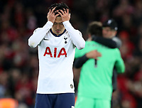27th October 2019; Anfield, Liverpool, Merseyside, England; English Premier League Football, Liverpool versus Tottenham Hotspur; Son Heung-Min of Tottenham Hotspur reacts after the final whistle as the match ends in a 2-1 Tottenham defeat - Strictly Editorial Use Only. No use with unauthorized audio, video, data, fixture lists, club/league logos or 'live' services. Online in-match use limited to 120 images, no video emulation. No use in betting, games or single club/league/player publications