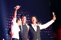 MIAMI, FL - AUGUST 3, 2012: Marc Anthony, Chayanne and Marco Antonio Solis during the Gigant3s concert featuring, Marc Anthony, Chayanne and Marco Anotonio Solis at the American Airlines Arena in Miam, Florida. August 3, 2012. &copy;&nbsp;Majo Grossi/MediaPunch Inc. /NortePhoto.com<br />