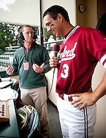 STANFORD, CA - April 23, 2011: Kenny Diekroeger of Stanford baseball talks to KZSU after Stanford's game against UCLA at Sunken Diamond. Stanford won 5-4. Diekroeger hit the game winning hit on a bloop single.