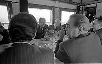President Ford and Soviet General Secretary Leonid Brezhnev meet during a train ride to to Vladivostok, USSR.   November 23, 1974. Also present are Secretary of State Henry Kissinger, Foreign Minister Andrei Gromyko, Ambassador Anatoly Dobrynin, Victor Sukhrodeve, Hal Sonnenfeld, and Ambassador Walter Stoessel.  November 23, 1974.