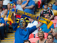 shrewsbury fans during the Sky Bet League 1 Play Off FINAL match between Rotherham United and Shrewsbury Town at Wembley, London, England on 27 May 2018. Photo by Andrew Aleksiejczuk / PRiME Media Images.