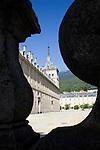 Framed view of El Escorial monastery, Spain