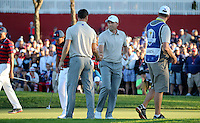 Sergio Garcia (Team Europe) and Martin Kaymer (Team Europe) shake hands at the 17th during the Saturday Afternoon Four-Balls, at the 41st Ryder Cup 2016, at Hazeltine National Golf Club, Minnesota, USA.  01View of the 10th2016. Picture: David Lloyd | Golffile.