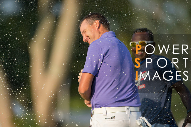 Sam Brazel of Australia celebrates after winning the tournament during the 58th UBS Hong Kong Golf Open as part of the European Tour on 11 December 2016, at the Hong Kong Golf Club, Fanling, Hong Kong, China. Photo by Lucas Schifres / Power Sport Images