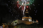 Israel, Galilee, Christmas celebrations in Nazareth, fireworks over the Church of the Annunciation