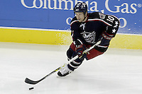 11 January 2006: Columbus Blue Jackets' Trevor Letowski plays against the Pittsburgh Penguins at Nationwide Arena in Columbus, Ohio.<br />