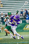 6 April 2019:  University at Albany Great Dane Attacker Jakob Patterson, a Junior from Chandler, AZ, is checked by University of Vermont Catamount Defender Warren Jeffrey, a Senior from Mimico, Ontario, during a game at Virtue Field in Burlington, Vermont. The Cats rallied to defeat the Danes 10-9 in America East divisional play. Mandatory Credit: Ed Wolfstein Photo *** RAW (NEF) Image File Available ***