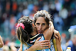 The Hague, Netherlands, June 14: Mariana Rossi #2 of Argentina celebrates after winning the field hockey bronze medal match (Women) between USA and Argentina on June 14, 2014 during the World Cup 2014 at Kyocera Stadium in The Hague, Netherlands. Final score 2-1 (2-1)  (Photo by Dirk Markgraf / www.265-images.com) *** Local caption ***