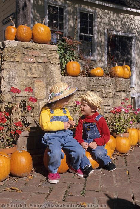 Children enjoy the autumn harvest season in Wisconsin