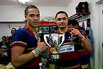 Whaiora Rangiwai & Larelle Underhill pose with the McNamara Cup. CMRFU Counties Power 2008 Club rugby McNamara Cup Premier final between Ardmore Marist & Patumahoe played at Growers Stadium, Pukekohe on July 26th.  Ardmore Marist won 9 - 8.
