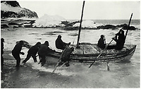 BNPS.co.uk (01202 558833)<br /> Pic: Bonhams/BNPS<br /> <br /> Last hope - April 24th 1916, Shackleton sets off from Elephant Island in a desperate attempt to reach civilisation and get help for the remaining crew.<br /> <br /> Photographic record of one of the worlds most epic tales of endurance.<br /> <br /> Remarkable photos documenting Sir Ernest Shackleton's ill-fated attempt to cross Antarctica over 100 years ago have emerged for sale for £40,000.<br /> <br /> The 1914-17 expedition is remembered for one of the greatest feats of human bravery and endurance after the party became stranded for 18 months in freezing conditions. <br /> <br /> The expedition's official photographer, Frank Hurley, captured their ordeal on camera and made presentation albums when he eventually returned to Britain.<br /> <br /> One album was given to King George V. Seven are believed to survive today, including the one for sale that has been owned by a private collector for over 40 years.
