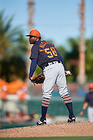 Detroit Tigers relief pitcher Victor Alcantara (58) looks in for the sign during a Grapefruit League Spring Training game against the Baltimore Orioles on March 3, 2019 at Ed Smith Stadium in Sarasota, Florida.  Baltimore defeated Detroit 7-5.  (Mike Janes/Four Seam Images)