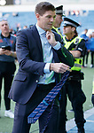 12.05.2019 Rangers v Celtic: Steven Gerrard gives his tie to a fan