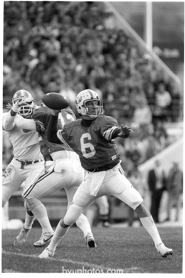 FTB 708 A 5A<br /> <br /> Football BYU vs University of Texas at El Paso (UTEP). Quarterback 6 Robbie Bosco.<br /> <br /> November 3, 1984<br /> <br /> Photo by Mark Philbrick/BYU<br /> <br /> &copy; BYU PHOTO 2009<br /> All Rights Reserved<br /> photo@byu.edu  (801)422-7322