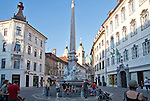 Slovenia, Ljubljana, Old Town or Staro Mesto, Mestni Trg, central square of  oldest part of the city, Robba Fountain, street musicians, pedestrian friendly, car-free environment, Baroque architecture, Europe, European Union,