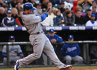 Los Angeles Dodgers 3rd baseman Russell Martin breaks his bat against the Colorado Rockies during the Rockies 12-7 loss in Denver, Colorado on May 3. FOR EDITORIAL USE ONLY