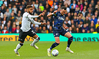 Leeds United's Jack Harrison battles with Derby County's Jayden Bogle<br /> <br /> Photographer Alex Dodd/CameraSport<br /> <br /> The EFL Sky Bet Championship Play-off  First Leg - Derby County v Leeds United - Thursday 9th May 2019 - Pride Park - Derby<br /> <br /> World Copyright © 2019 CameraSport. All rights reserved. 43 Linden Ave. Countesthorpe. Leicester. England. LE8 5PG - Tel: +44 (0) 116 277 4147 - admin@camerasport.com - www.camerasport.com