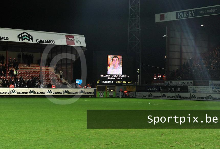 KV Kortrijk - RSC Anderlecht : eerbetoon aan Jean Marc Degryse.foto VDB / BART VANDENBROUCKE