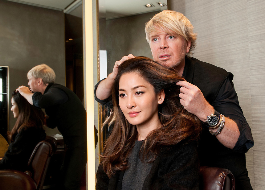 Kim Robinson Celebrity Hairdresser / Stylist opens a new salon in Hong Kong.With Celebrity model Kathy Wong. Pic Jayne Russell <br /> Phone-+852 97578607.<br /> Date- 08.01.2013.<br /> 8th January 2013