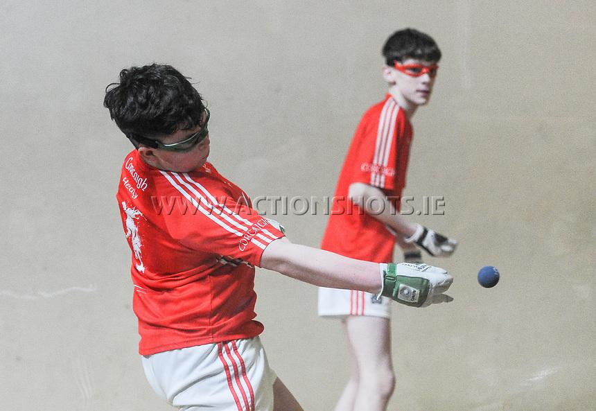19/03/2018; 40x20 All Ireland Juvenile Championships Finals 2018; Kingscourt, Co Cavan;<br /> Boys Under-15 Doubles; Galway (Paul Kearns/Darragh Kyne) v Cork (Kealan Murphy/Gearoid Healy)<br /> Photo Credit: actionshots.ie/Tommy Grealy