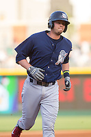 Reid Brignac (16) of the Lehigh Valley IronPigs rounds the bases after hitting a 3-run home run against the Charlotte Knights at BB&T Ballpark on May 8, 2014 in Charlotte, North Carolina.  The IronPigs defeated the Knights 8-6.  (Brian Westerholt/Four Seam Images)