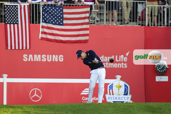 Zach Johnson US Team tees off the 1st tee to start Saturday Morning Foursomes Matches of the 41st Ryder Cup, held at Hazeltine National Golf Club, Chaska, Minnesota, USA. 1st October 2016.<br /> Picture: Eoin Clarke | Golffile<br /> <br /> <br /> All photos usage must carry mandatory copyright credit (&copy; Golffile | Eoin Clarke)