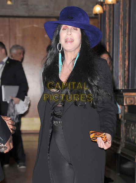 "Cher (Cherilyn Sarkisian).""The Book of Mormon"" Hollywood Opening night Held At The Pantages theatre, Hollywood, California, USA..September 12th, 2012.half length black hat leggings top lace trousers blue purple mouth open turquoise earrings .CAP/DVS.©DVS/Capital Pictures."