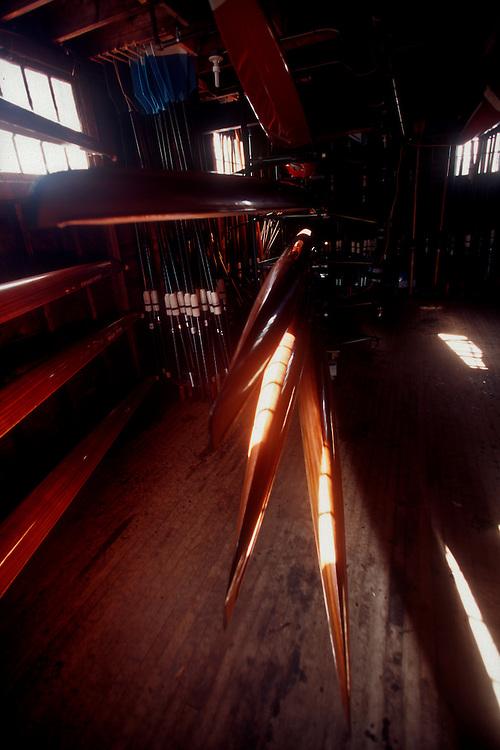 Rowing, racing shells, single and double wooden, hand-built cedar shells, Cambridge Boat Club, boathouse, Cambridge, Massachusetts, New England, USA, .