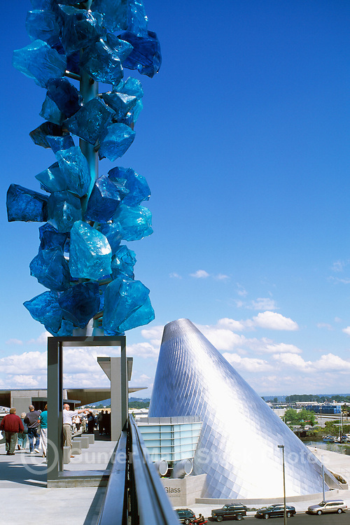 Tacoma, Washington, USA - Museum of Glass (MOG ), Dale Chihuly Bridge of Glass, Contemporary Glass Blown Art Sculpture (Arthur Erickson Architect)