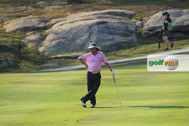 Miguel Angel Jimenez (ESP) in action on the 16th during Round 2 of the True Thailand Classic, at the Black Mountain Golf Club, Hua Hin, Thailand.  11/03/2016. <br /> Picture: Golffile | Thos Caffrey.<br /> <br /> All photos usage must carry mandatory copyright credit <br /> (&copy; Golffile | Thos Caffrey)