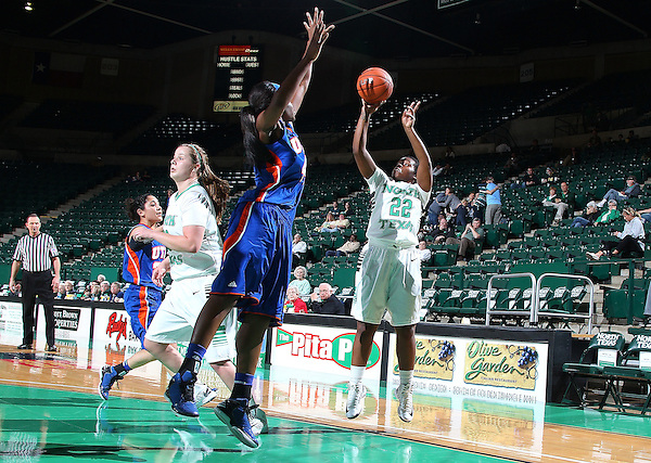 DENTON, TX - DECEMBER 18: BreAnna Dawkins #22 of the University of North Texas Mean Green shoots against the University of Texas at Arlington Mavericks at the UNT Coliseum on December 18, 2012 in Denton, Texas. (Photo by Rick Yeatts)