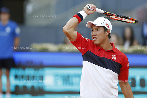 Kei Nishikori (JPN), MAY 7, 2015 - Tennis : Kei Nishikori of Japan in action during singls 3rd round match against Roberto Bautista Agut of Spain on the ATP World Tour Masters 1000 Mutua Madrid Open tennis tournament at the Caja Magica in Madrid, Spain, May 7, 2015. (Photo by Mutsu Kawamori/AFLO) [3604]
