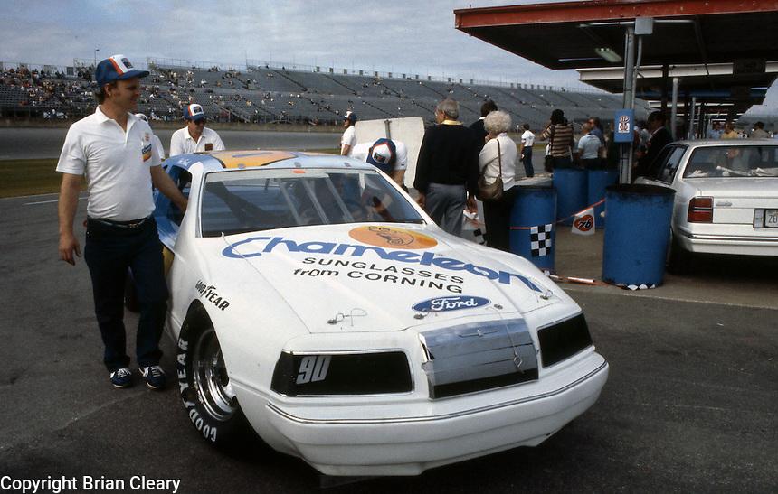 Dick Brooks car garage Daytona 500 at Daytona International Speedway in Daytona Beach, FL on February  1984. (Photo by Brian Cleary/www.bcpix.com)