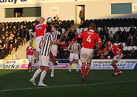 Gerry McLauchlan gets a head to the ball in the St Mirren v Brechin City William Hill Scottish Cup Round 4 match played at St Mirren Park, Paisley on 1.12.12.