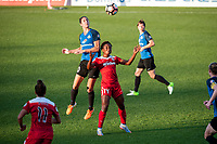Kansas City, MO - Saturday May 27, 2017: Yael Averbuch, Francisca Ordega during a regular season National Women's Soccer League (NWSL) match between FC Kansas City and the Washington Spirit at Children's Mercy Victory Field.
