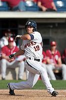 Tony Cooper (19) of the Pepperdine Waves bats against the Oklahoma Sooners at Eddy D. Field Stadium on February 18, 2012 in Malibu,California. Pepperdine defeated Oklahoma 10-0.(Larry Goren/Four Seam Images)