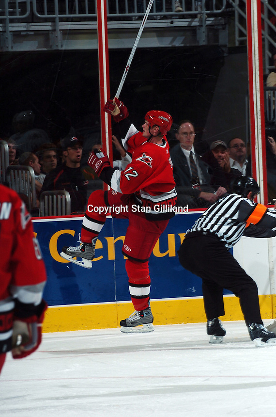 Carolina Hurricanes' Eric Staal celebrates a goal during a game against the Washington Capitals Wednesday, Oct. 12, 2005 in Raleigh, NC. Carolina won 7-2.