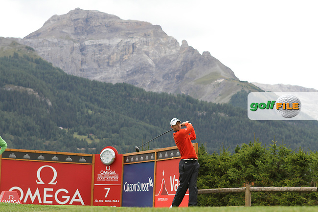 Rhys Davies (WAL) on the 7th on Day 1 of the Omega European Masters 2012, Golf Club Crans-Sur-Sierre, Crans Montana, Switzerland, 30/8/12...(Photo Jenny Matthews/www.golffile.ie)