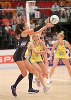 28.01.2017 Silver Ferns Maria Tutaia action during the Silver Ferns v Australian Diamonds netball test match played at the International Convention Centre studium in Durban, South Africa.<br />  Mandatory Photo Credit ©Reg Caldecott/Michael Bradley Photography.