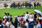 HONG KONG - MAY 04:  Riders compete during the Sheung Wan Handicap at Sha Tin racecourse on May 4, 2014 in Hong Kong, Hong Kong.  Photo by Aitor Alcalde / Power Sport Images
