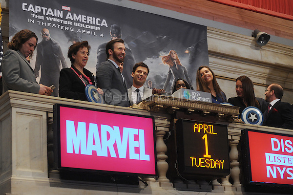 NEW YORK, NY - APRIL 1: Chris Evans and Sebastian Stan ring the opening bell at the New York Stock Exchange promoting Marvel's Captain America: The Winter Soldier film on April 1, 2014 in New York City. Credit: mpi01/MediaPunch