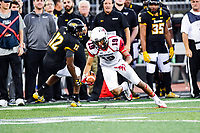 Baltimore, MD - OCT 14, 2017: Richmond Spiders wide receiver Tyler Wilkins (19) makes Towson Tigers defensive back Keon Paye (12) miss and is off for a big gain during game between Towson and Richmond at Johnny Unitas Stadium in Baltimore, MD. The Spiders defeated the Tigers 23-3. (Photo by Phil Peters/Media Images International)