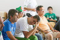 San Jose, CA - Monday, June 30, 2014: An Algeria fan reacts to a Germany goal in extra time. A group of around 30 Algerians watched the Algeria vs. Germany round of 16 match at the Arab Cultural Center.
