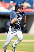 Akron Zips outfielder Matt Corpora #37 during a game vs. the Xavier Musketeers at Chain of Lakes Park in Winter Haven, Florida;  March 11, 2011.  Xavier defeated Akron 7-0.  Photo By Mike Janes/Four Seam Images