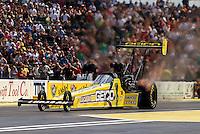 Aug. 4, 2013; Kent, WA, USA: NHRA top fuel dragster driver Morgan Lucas during the Northwest Nationals at Pacific Raceways. Mandatory Credit: Mark J. Rebilas-USA TODAY Sports