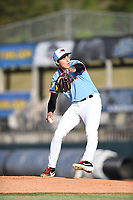Hickory Crawdads starting pitcher Hans Crouse (10) throws to a batter during the game with the Augusta GreenJackets at L.P. Frans Stadium on April 24, 2019 in Hickory, North Carolina.  The Crawdads defeated the GreenJackets 5-4. (Tracy Proffitt/Four Seam Images)