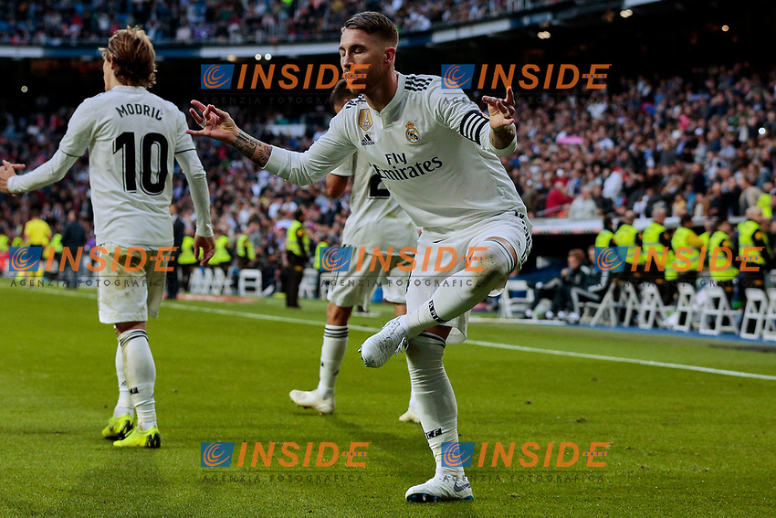 Real Madrid's Sergio Ramos celebrates goal during La Liga match between Real Madrid and Real Valladolid at Santiago Bernabeu Stadium in Madrid, Spain. November 03, 2018. (ALTERPHOTOS/A. Perez Meca)<br /> Liga Campionato Spagna 2018/2019<br /> Foto Alterphotos / Insidefoto <br /> ITALY ONLY