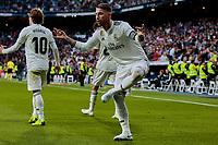 Real Madrid's Sergio Ramos celebrates goal during La Liga match between Real Madrid and Real Valladolid at Santiago Bernabeu Stadium in Madrid, Spain. November 03, 2018. (ALTERPHOTOS/A. Perez Meca)<br /> Liga Campionato Spagna 2018/2019<br /> Foto Alterphotos / Insidefoto <br /> ITALY ONLY